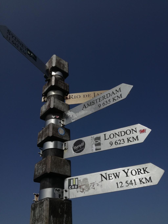 Wegwijzers met afstand tot verschillende grote steden in de wereld