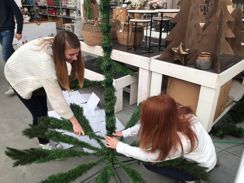 Twee leerlingen zijn bezig om een kunstkerstboom op te bouwen in een tuinwinkel.